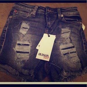 Hudson Denim Girls Destroyed Blk Shorts Sz 10